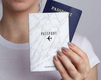 Marble Leather Passport Cover Passport Travel Leather Wallet Leather Passport Holder Gift Personalized Passport Covers Passport Case CL6128