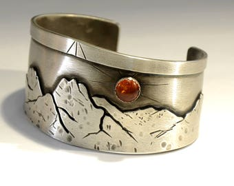 Amber Moon over Mountains Handmade Sterling Silver Bracelet – Solid 925 BR1205