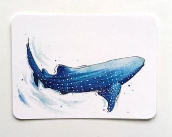 Whale shark Postcard-watercolor