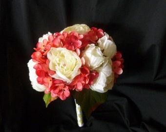 Pink hydrangea peony bridal bouquet, canary yellow and hot pink bouquet, artificial bridal bouquet