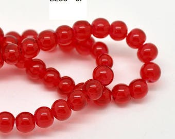 Red Transparent accessory 8mm round glass beads slide.
