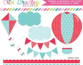 80% OFF SALE Commercial Use Clipart Hot Air Balloon Kite Bunting Clouds and Borders Digital Clip Art Graphics - Instant Download
