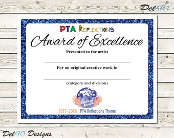 PTA Reflections Certificate, 2017-2018, Digital Printable PDF Files or Editable PDFs, certificate template, Within Reach Theme, 8.5x11 inch