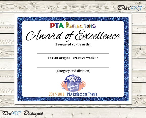 Pta reflections certificate 2017 2018 digital printable pdf pta reflections certificate 2017 2018 digital printable pdf files or editable pdfs certificate template within reach theme 85x11 inch yadclub Image collections