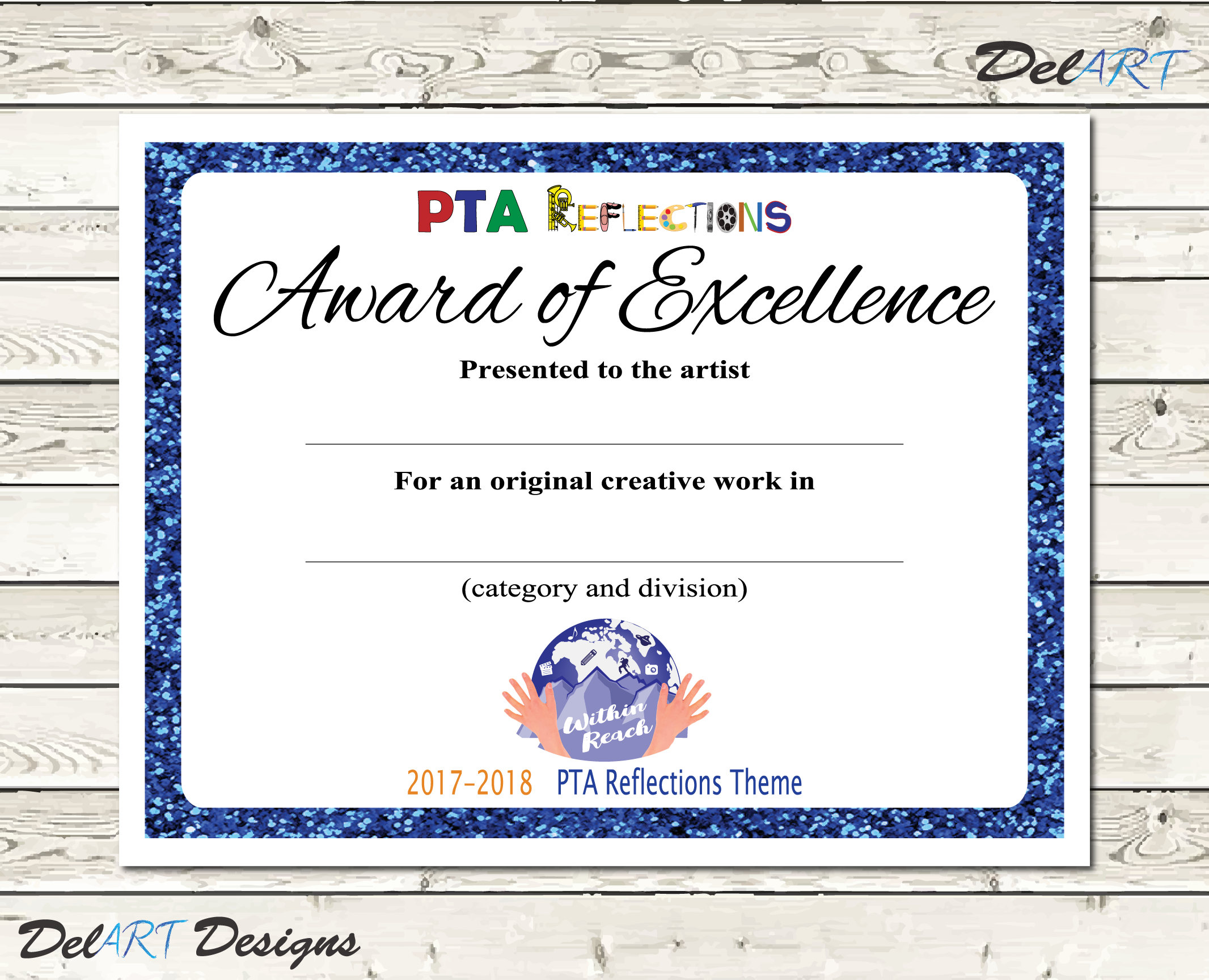 Pta reflections certificate 2017 2018 digital printable pdf zoom xflitez Image collections