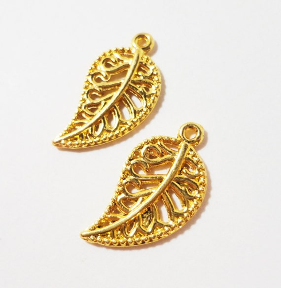 Gold Leaf Charms 18x9mm Antique Gold Metal Nature Filigree Leaf Pendant Charm Jewelry Making Jewelry Findings Craft Supplies 10pcs