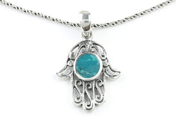Malachite Hamsa Necklace, Sterling Silver Necklace, Hand of Fatima, Hand Necklace, Meditation, Spiritual, Festival, Hippie, Boho, Gemstone