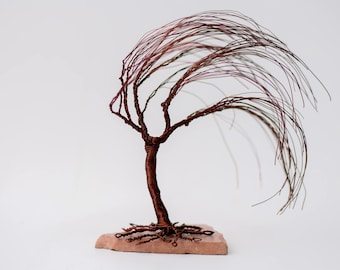 Wire Tree Sculpture sculpture tree  Wire Tree Sculpture Windswept Willow.Decoration. Wire Tree Sculpture - Wedding Cake Topper - Bonsai Tree