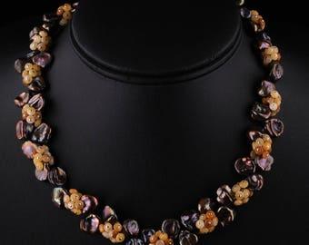 Chocolate Bronze Keshi Pearl & Golden Jade Cluster Necklace