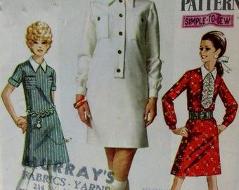 Vintage 1960s Mod Simplicity   Dress Pattern #7822  Size 14 Bust 36 UNCUT