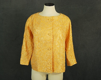 Clearance Sale vintage 60s Gold Lame Jacket 1960s Yellow Jacket L XL