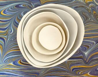 5 Paper Mache Nesting Bowls in White