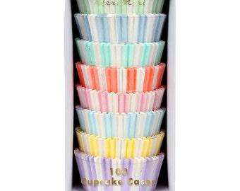 Meri Meri Pastel Cupcake Liners (100), Standard Baking Cups, Pastel Stripe Cupcake Cases, Birthday Cupcakes, Easter Cupcake Liners