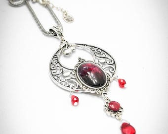 Decadent cherry necklace - silver victorian necklace - red cherry - handmade filigree necklace - handpainted cameo