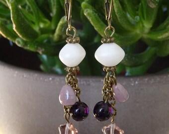 Purple cluster beads EARRINGS