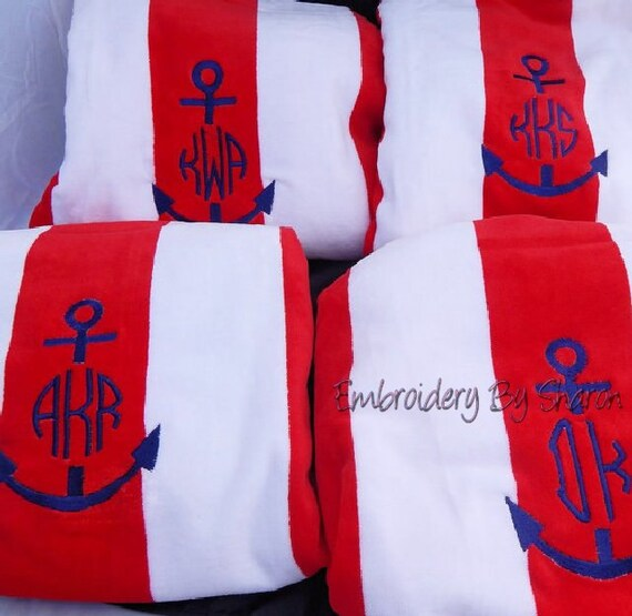 Monogrammed Beach Towels Personalized Towel Embroidered