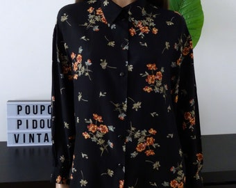 Woman vintage black floral spring blouse/tunic size 42 - uk 14 - us 10