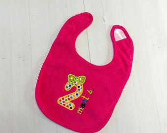 Second month with number 2 hot pink embroidered Koala Baby cloth baby bibs for two month old infant girls