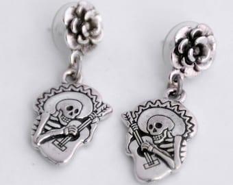 Guitaro Earrings, Dia de los Muertos Earrings, Day of the Dead Jewelry, Skull Mariachi Earrings, SilverSkeleton Earrings, Halloween Earrings