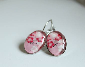 Pink Japanese cherry blossom cabochon earrings