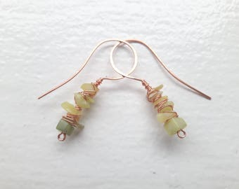 Jade and Copper Wire Wrapped Earrings
