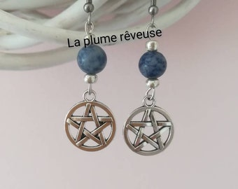 Pentacle with sodalite earrings. Pagan. Witchy. Witchcraft. Gothic