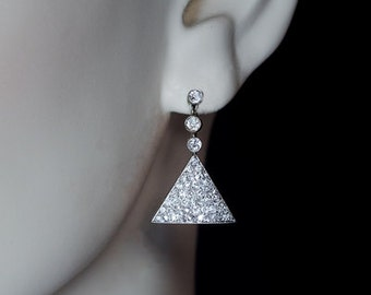 Antique Diamond Triangular Earrings