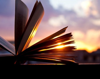 Book photography Instant Download Open book and Sunset Decorating Ideas  Library Art Gift Ideas Home Decor