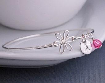 Daisy Jewelry, Sterling Silver Daisy Bangle Bracelet, Flower Bracelet, Bridesmaid Gift, Spring Summer