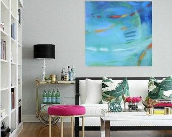 Turquoise abstract 24x24 giclee print, Modern Loft wall art, contemporary minimalist canvas,soft calming art, large giclee canvas fine art