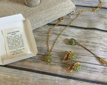 Olivine Necklace, Earring and Hat Pin Set - Vintage Souvenir Jewelry Set - Gold Toned Metal - Light Green Lava Fantasia