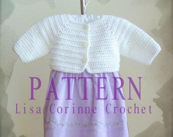 Baby Girl Sweater Crochet PATTERN, Baby Shrug Sweater PATTERN, Crochet Sweater