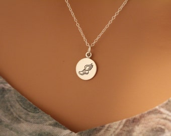 Sterling Silver Running Shoe with Wings Necklace, Running Shoe Necklace, Running Necklace, Running Shoe Charm Necklace, Run Necklace