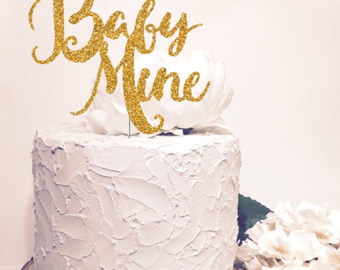Baby Mine Cake Topper. Chic baby shower decor. Gold Glitter Sparkle. Cursive Script letter.