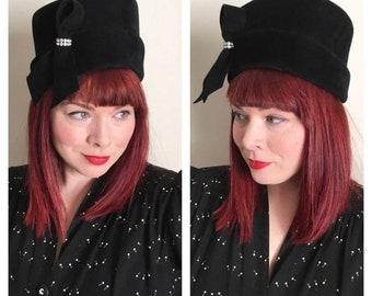 30% Off Sale 40s Peachbloom Velour Merrimac Black Fur Hat with Rhinestones
