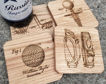 Father's Day Golf Coasters, Oak Wood Set of 4