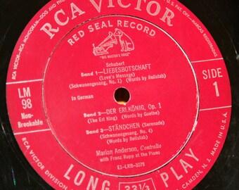Marian Anderson Sings Beloved Schubert Songs - RCA Victor LM98 - Vintage 33 1/3 LP Record - 1951