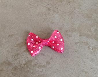 Mini pink organza bow with white polka dots