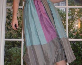 Silk Color block Skirt