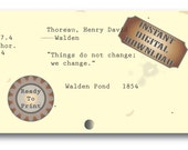 "Thoreau Library Card Catalog Printable ~ ""Change"" WALDEN Book Quote ~ JPG File ~ Aged Library Ephemera Literary Quote ~ Bookworm Gift Card"