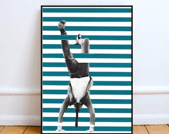 "Scandinavian print, optical illusion art print, handmade collage art, mixed media art, dadaism, surreal original collage ""Effet d'optique""."