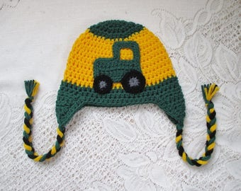 Green and Gold Crochet Tractor - Winter Hat or Photo Prop - Available in Any Size or Color Combination