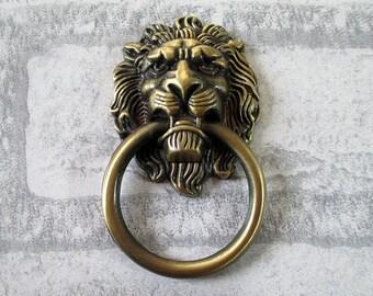 Lion Head Door Knocker Ring Drawer Pull Knobs Dresser Drop Rings ...