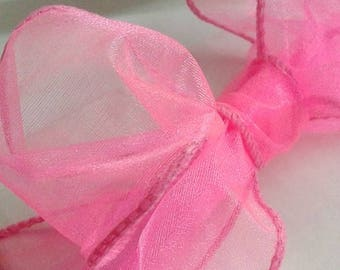 "Shocking Pink Sheer Wire Ribbon / Valentines Day Ribbon / Easter Ribbon / Mothers Day Ribbon / 2 1/2"" 10 yards"