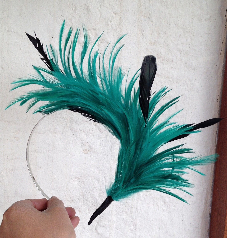 green black feather headband fascinator millinery burlesque hair ...