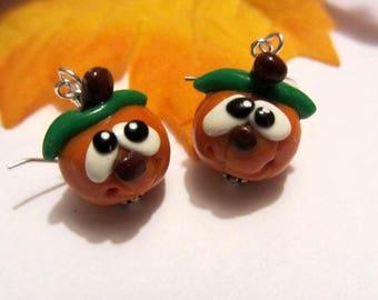 Goofy Funny Pumpkin Earrings Fall Earrings Autumn Earrings Orange Fall Gifts Halloween Jewelry