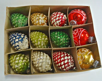 12 Vintage Mercury Glass Christmas Ornaments 9 Pine Cones 3 West Germany 1940's