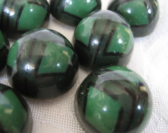 Great Set of 8 ANTIQUE Bubble Green & Black Art Deco Celluloid BUTTONS
