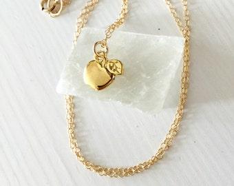 Apple charm necklace / gold apple charm necklace / teacher's gift / teacher necklace