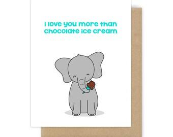 Funny Love Card For Boyfriend Girlfriend Husband Wife Fun Happy Anniversary Romantic Birthday Cute I Love You Handmade Greeting Elephant